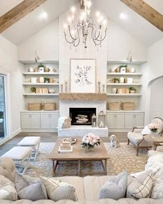 Living Room With Fireplace, Cozy Living Rooms, Home Living Room, Living Room Designs, Living Room Decor, Living Spaces, Fireplace Mantel, Dining Room, Dream Home Design