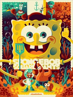 Check out this awesome limited-edition SpongeBob SquarePants poster by artist Tom Whalen! The print is going to be available at MondoCon in Austin, Texas which takes place October & You can. Tom Whalen, Cartoon Posters, Disney Posters, Plakat Design, Illustration, Alternative Movie Posters, Movie Poster Art, Geek Art, Spongebob Squarepants