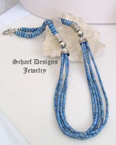 single bead  necklace design | ... necklace denim lapis multi strand necklace from the schaef designs