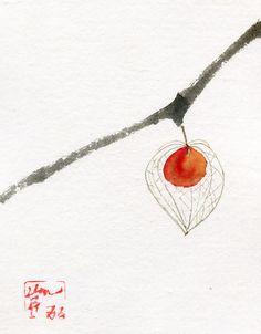 Chinese Lantern Dried Flower Original Watercolor Painting - Chinese Brush Painting - Sumi-e