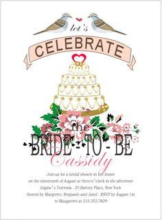 Love Birds With Heart Cake Bride To Be Invitation HPB104 on happyinvitation.com