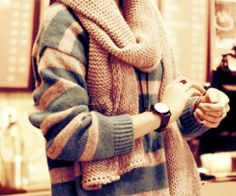 big sweater and scarf