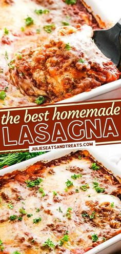 This recipe will be your go-to for The BEST Homemade Lasagna! Not only is this meal quick and easy, but it also has an amazing flavor. Full of ground beef, onion, spices, cottage cheese, and Mozzarella, this comfort food is the perfect dinner treat for your family! Lasagna Recipe With Ricotta, Easy Lasagna Recipe, Homemade Lasagna Recipes, Pasta Recipes, Yummy Recipes, Easy Holiday Recipes, Thanksgiving Recipes, Mouth Watering Food, Yummy Food
