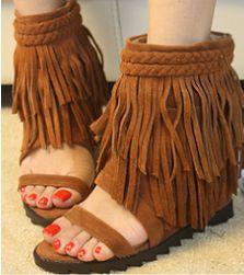 Lady's Summer Open Toe Suede Leather Fringe Flat AnkleSandalsBoots Shoes US8.5 | eBay