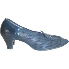 Vintage 1940s Open Weave Navy Blue Summer Shoes from Eaton's Canada