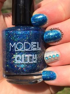 Feeling Blue using Frozen by Model City Polish & Veiled by Love, Angeline