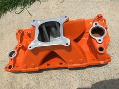 SBC intake powder coated in orange