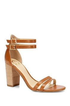 """C. Wonder Strappy Sandal in Dark Saddle -   - Open toe - Dual strap vamp and upper - Dual side buckle closure - 14K gold-plated hardware throughout - Stacked heel - Approx. 3.25"""" heel"""