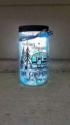 Mason Jar Crafts, Mason Jar Diy, Glittered Mason Jars, Campsite Decorating, Camping Decorations, Mason Jar Lighting, Mason Jar Fairy Lights, Fairy Jars, Mason Jars