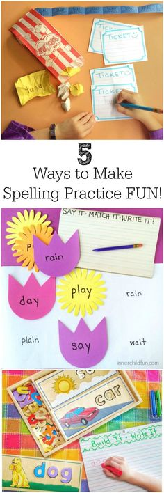 5 Fun Ways to Practice Spelling Words -- love these ideas!