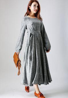 ** Details **  Grey linen dress, black chiffon lining  hidden zipper in the right side  a round neckline  long sleeve style  A long belt  Womens dress,