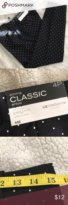 NWOT CLASSIC LIZ CLAIBORNE ANKLE PANTS NWOT please see pictures for measurements   SIZE 4P &6P  COLOR BLACK with white dots  10%-20% DISCOUNT BUNDLES  PLEASE CHECK MY CLOSET FOR MORE SELECTIONS ;  ALL THE CLOTHS ARE GOOD/MINT CONDITION//LIGHTLY USED.  IF THERE IS VISIBLE DEFECTIVE OR TEARING I WILL REPORT CAREFULLY. COLOR AS SHOWN ON PICTURES MORE DISCOUNT FOR 2+ BUYING  SHIP WITHIN 24-48 HRS  THANK YOU! 😊😘😘😘😘☺️☺️ Liz Claiborne Pants Ankle & Cropped