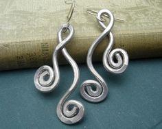 Dancing Swirls Spirals Big Earrings, Light Weight Aluminum Wire Dangle Earrings, Gift for Her Women, Mardi Gras, Jewelry Making Tutorials, Wire Tutorials, Aluminum Wire Jewelry, Boho Jewelry, Jewelry Ideas, Fashion Earrings, Women's Earrings, Inspirational Jewelry
