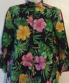 Lauren Ralph Lauren Hawaiian Shirt M Womens Tunic Linen LS Hibiscus Flower #LaurenRalphLauren #Tunic #Casual