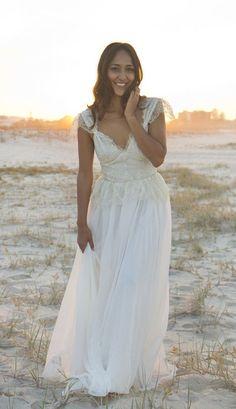 Ivory Boho Wedding Dress with Cap Sleeves