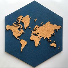 Laser cut cork World Map on blue dyed cork hexagon backing. Perfect conversation piece for your living room, den, classroom, man cave or nursery. Hexagon measures point to point and edge to edge. Cork World Map, Cork Map, World Maps, World Map Pin Board, World Map With Pins, Vintage Maps, Antique Maps, Cork Crafts, Buenos Aires