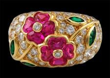 for when i am 60, VAN CLEEF & ARPELS Diamond, Emerald & Pink Sapphire Flower Ring