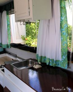 Lovr the counter top color.Bright and cheery and budget friendly, Because I'm Me Jayco 1207 pop-up tent camper interior remodel Popup Camper, Diy Camper, Camper Ideas, Tent Campers, Camper Trailers, Camper Curtains, Pop Up Trailer, Pop Up Tent, Camper Makeover