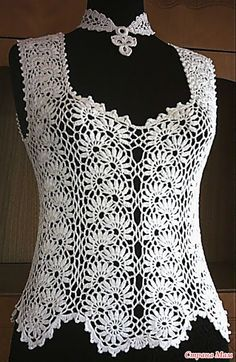 Lace Blouse Models - Very Stylish White Lace Blouse Examples - Knitting T-shirt Au Crochet, Cardigan Au Crochet, Beau Crochet, Gilet Crochet, Mode Crochet, Crochet Shirt, Crochet Woman, Irish Crochet, Crochet Tops