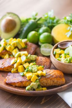 Chili Lime Salmon with Avocado Mango Salsa! This dish is simple, fresh, healthy and delicious!