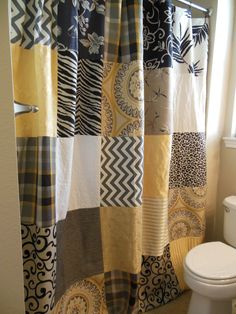 Yellow, Gray, Taupe, Black, And White Bohemian Patchwork Shower Curtain  Mustard Yellow Curtains