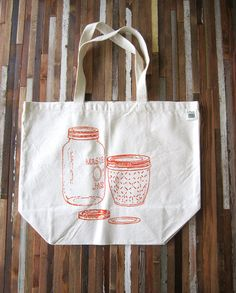 Canvas Tote Bag Screen Printed Recycled Cotton by ohlittlerabbit