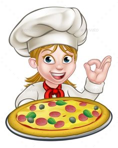 Buy Cartoon Female Woman Pizza Chef by Krisdog on GraphicRiver. Cartoon female woman chef character holding a pizza and giving a perfect okay delicious cook gesture Pizza Chef, Pizza Pizzeria, Funny Emoji Faces, Pizza Logo, Acrylic Pouring Art, Banner Printing, Flower Backgrounds, Drawing For Kids, Vector Design