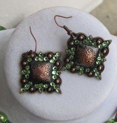 "1"" Square Copper Crystal Concho Earrings by diamondbjewelry on Etsy"