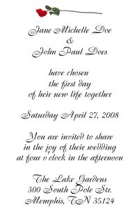 Elegant Wedding Invitations include a calligraphy font for the