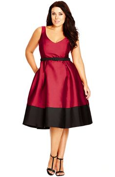 City Chic 'Lady Like' Belted Colorblock Fit & Flare Dress (Plus Size)