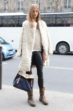 Model Off Duty Street Style Anna Selezneva Leather Leggings And Marant Coat