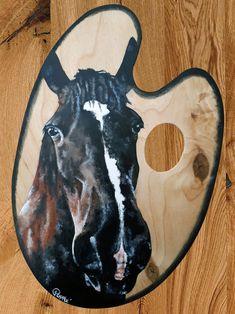 Acrylique/peinture/palettedepeintre/palette/cheval/horse/contemporain/peinture/réalisme/tableau/acrylique/illustration/graphisme/paint/Poppix' 27x18cm Moose Art, Palette, Illustration, Animals, Acrylic Board, Painted Canvas, Horse, Black N White, Graphic Design