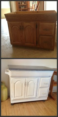 Take An Old Bathroom Vanity And Make A Rolling Kitchen Island. Use Chalk  Paint To