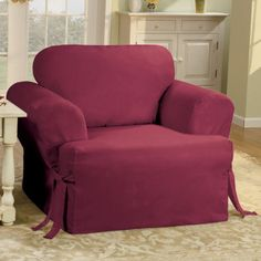 Sure Fit Cotton Duck T Cushion Chair Slipcover Found At Jcpenney Ottoman Sofa