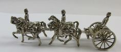 VINTAGE HANDMADE STERLING SILVER HORSE & WAGON W/ CONFEDERATE SOLDIERS FIGURINE