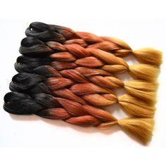 Sallyhair 24inch Ombre Braiding Hair 2 Tone Black Blonde Color Jumbo Braids High Temperature Fiber Synthetic Hair Extension