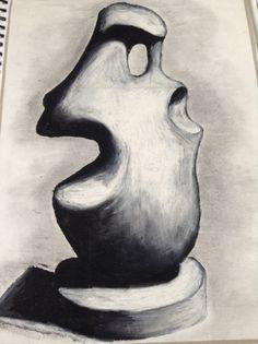 Oil pastel sketch of Henry moors sculpture for my natural forms folder