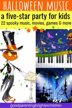 Check out these 22 scary Halloween music and movies to play in the dark on Halloween night. best classic movies for kids & teens. Includes music from horror movies. Halloween Music For Kids, Halloween Party Themes, Halloween Books, Halloween Activities, Halloween Night, Halloween Pumpkins, Scary Movie 4, Scary Music, Music Activities