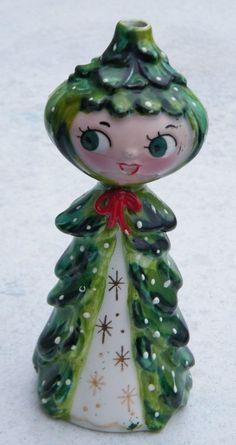 Vintage Holt Howard Girl Christmas Tree Wick Air Freshener 1959
