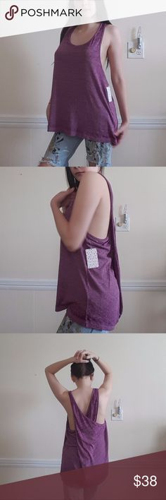 Free People Wild Orchid Cross Back Swing Tunic M From Free People.  New With Tags!!!!!  Polyester, Cotton, and Rayon. So soft and light.  Wild Orchid color is amazing! Free People Tops Tank Tops