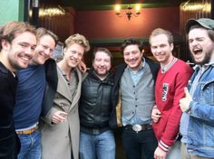 Mumford & Sons hanging out with some peeps in Galway, Ireland, just weeks before their stopover show there.  Taken today.  They're all so handsome :)
