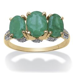 2.96 CT TW Emerald and .46 CTW White Topaz Ring in 14k Gold over Sterling Silver