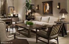 sofa and art, warm neutrals