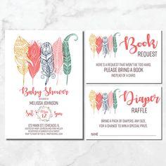Boho Chic Baby Shower Invitations | Boho Feathers Invite | Bohemian Baby Shower Invitation | Tribal Baby Shower | Boho Feather Baby Shower