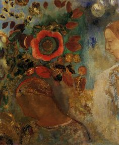 Two Young Girls among the Flowers  Odilon Redon