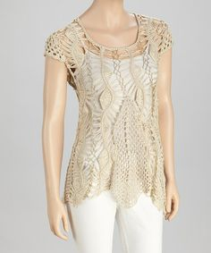 Take a look at this Beige & Gold Crocheted Cap-Sleeve Tunic by SR Fashions on #zulily today!