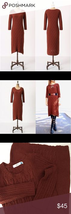 """Anthro Sparrow 'Cabled Heavens' Sweater Dress Wool/Acrylic/Cashmere/Nylon Blend • Rust/brown/orange/red in color • 17"""" bust measuring flat • 42"""" from shoulder to hem • great condition and perfect for fall/winter! Anthropologie Dresses"""