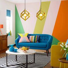 Living Room Orange, Colourful Living Room, Living Room Colors, Living Room Art, Living Room Designs, Bohemian Living Rooms, Beautiful Living Rooms, Monochromatic Living Room, Art Pour Salon
