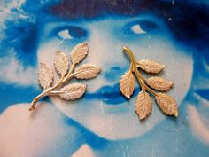 Gold Plated Frosted White Patina Brass Branch with Leaves 760WHT x2 by…