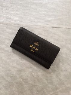 21fb6d1e76e Preowned Womens Genuine Leather Canvas ID Card Long Wallet Black Gucci   fashion  clothing